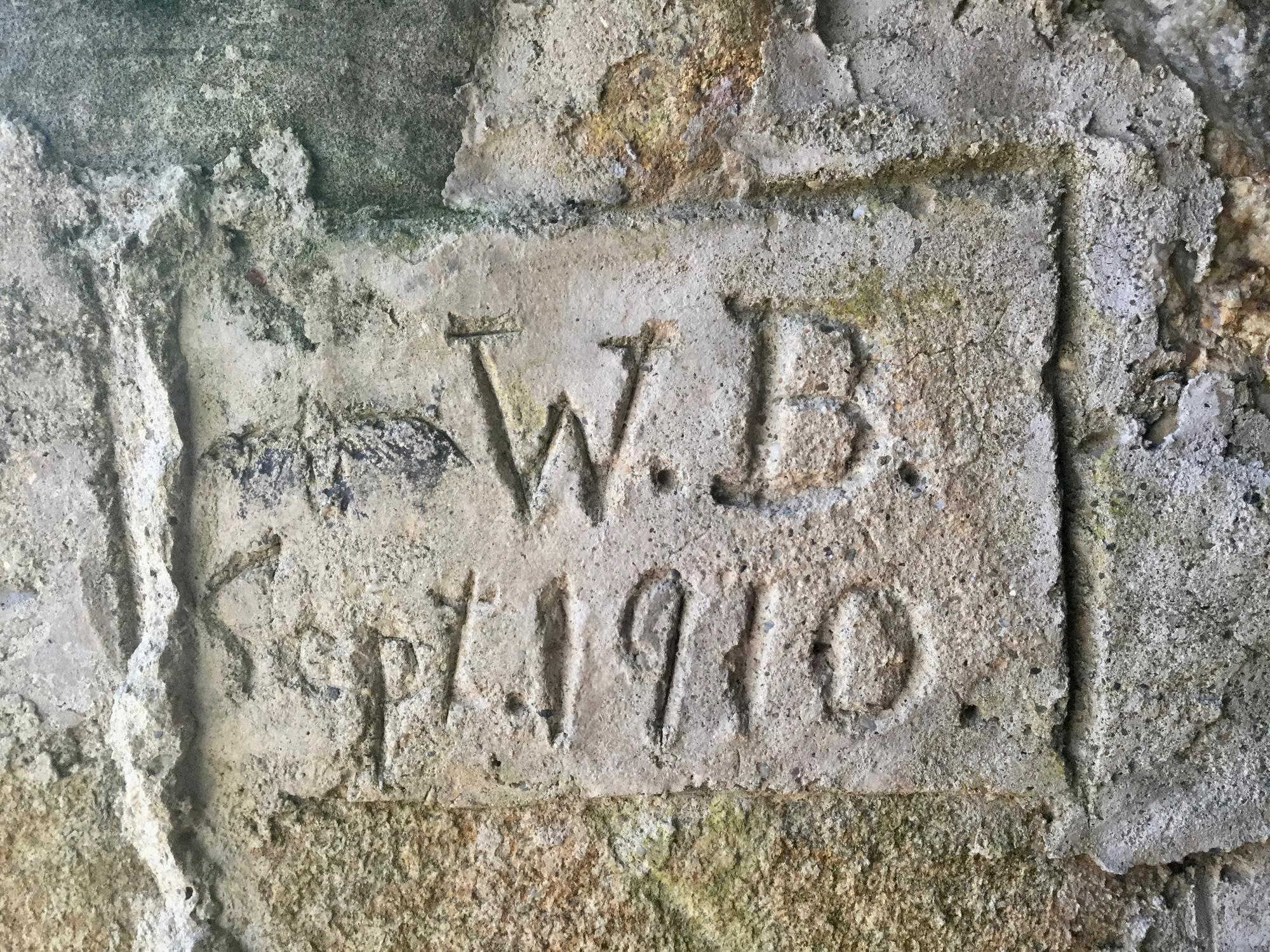 Inscription by William Brewster inside his boathouse at October Farm, Concord, Ma.