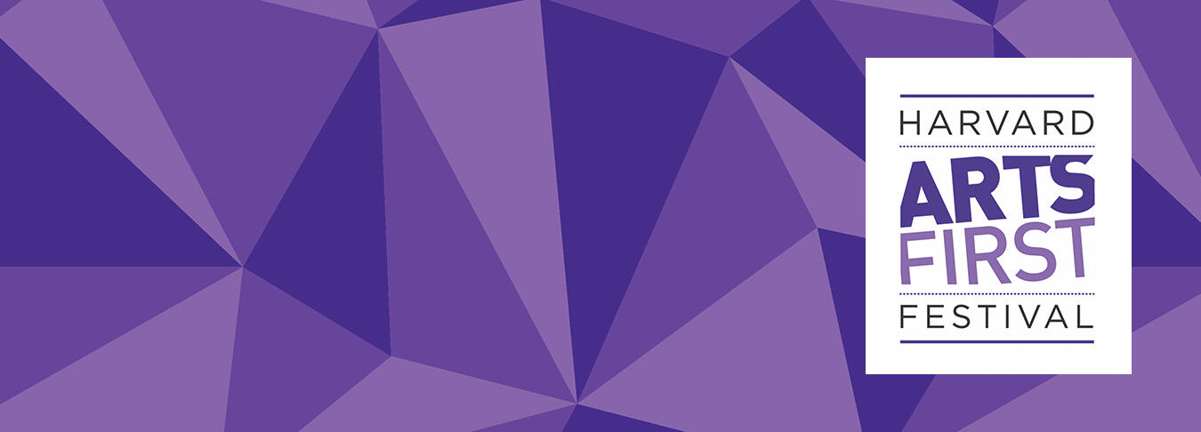 Purple geometric background with the Arts First logo on the right