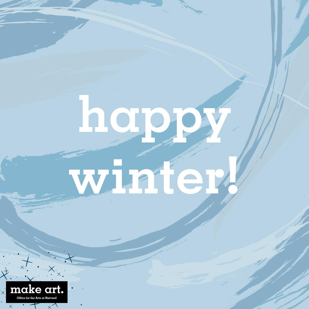 "blue abstract image with text that says ""happy winter!"""