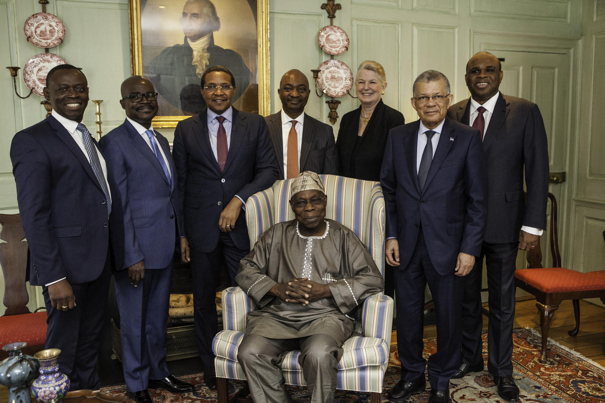 African leaders with Prof. Akyeampong and Dr. Gill in the Wadsworth House parlor
