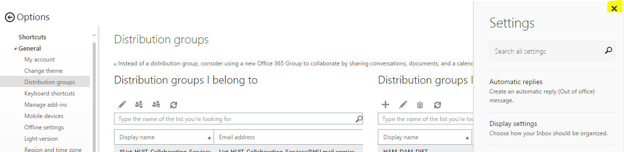 Managing an Office 365 Distribution Group Online | Office