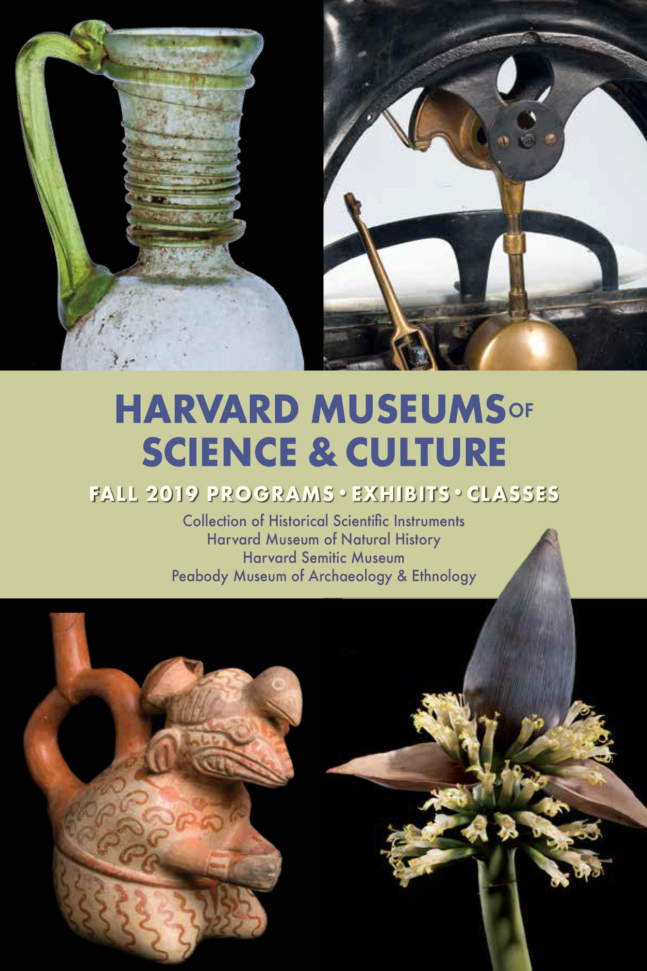 Four objects, one of a juglet one of a toledo scale, one of a banana flower and one of a moche water bottle with the Harvard Museums of Science and Culture Fall 2019 Public Programs Guide on it.