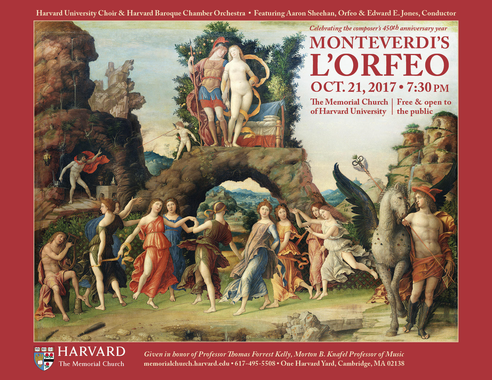 Harvard University Choir and Harvard Baroque Chamber Orchestra present a concert performance of Monteverdi's ORFEO