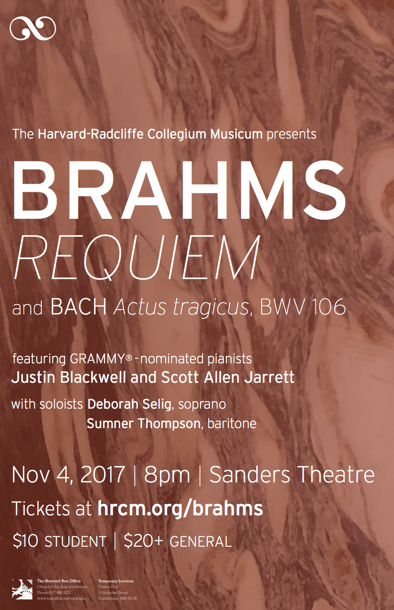 The Harvard-Radcliffe Collegium Musicum presents Brahms Requiem and Bach Actus tragicus, BWV 106