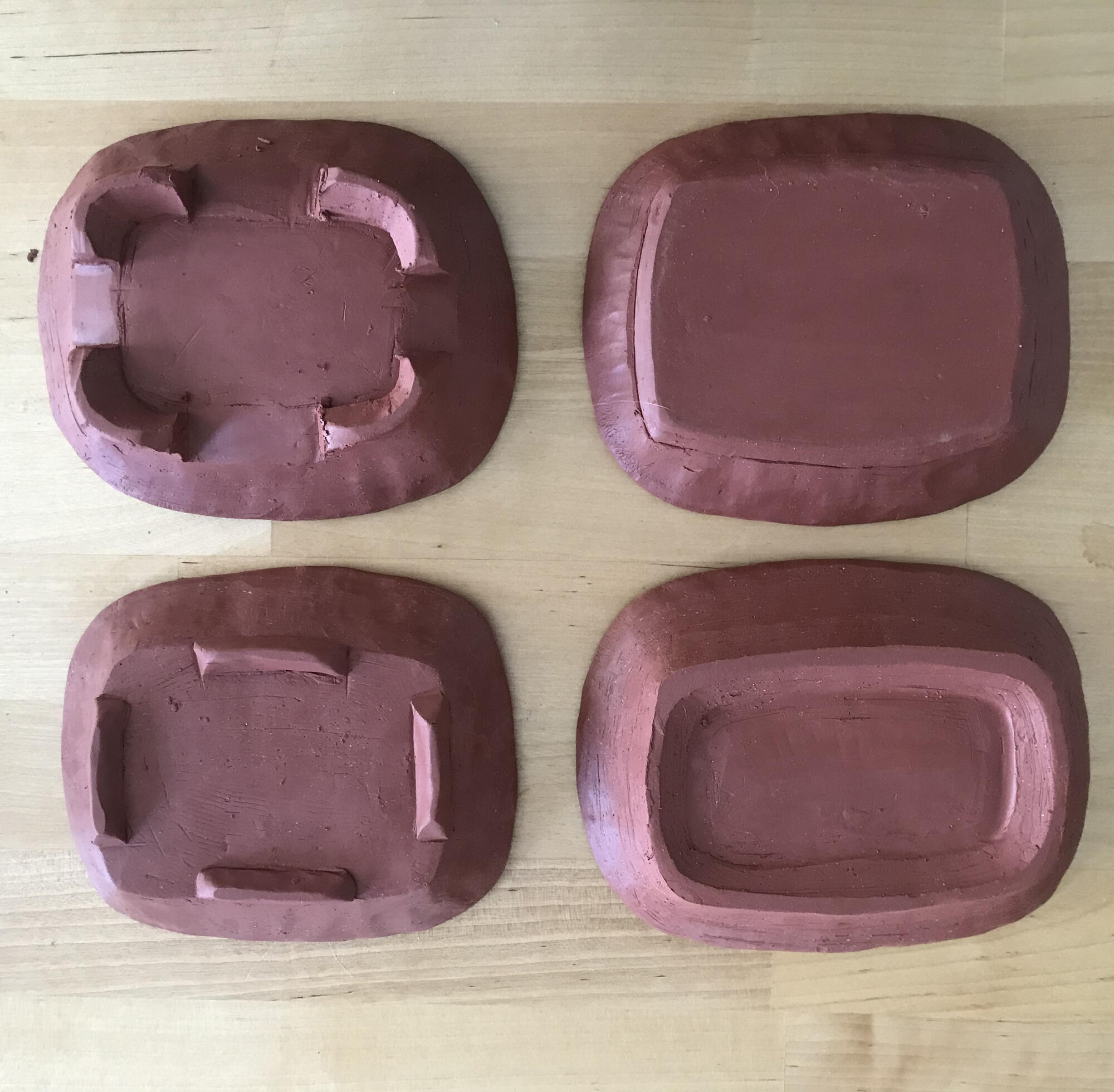 Handbuilt Trays upside down by Ruth Easterbrook