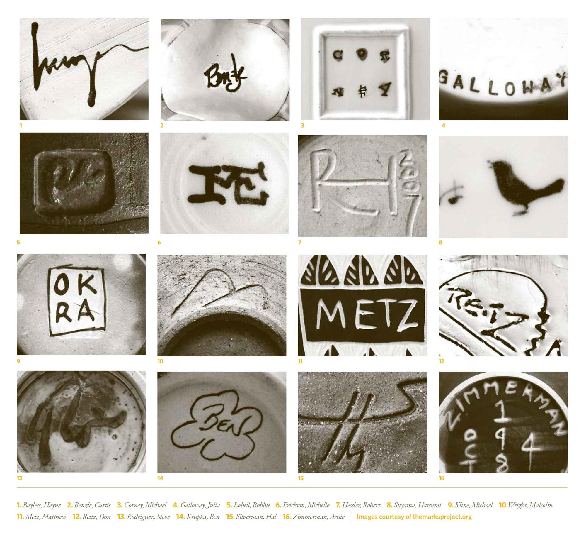 photo collage of 16 different potters' marks.