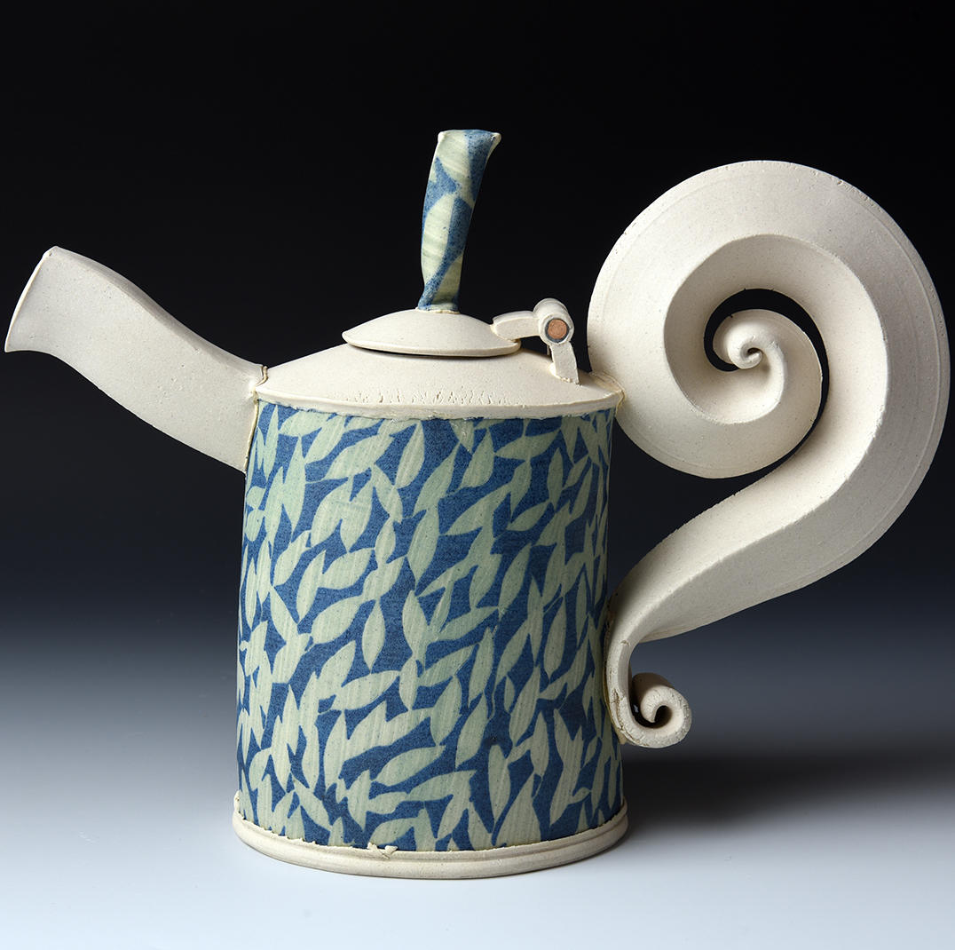 Ceramic Teapot with spiral handle by Hayne Bayless