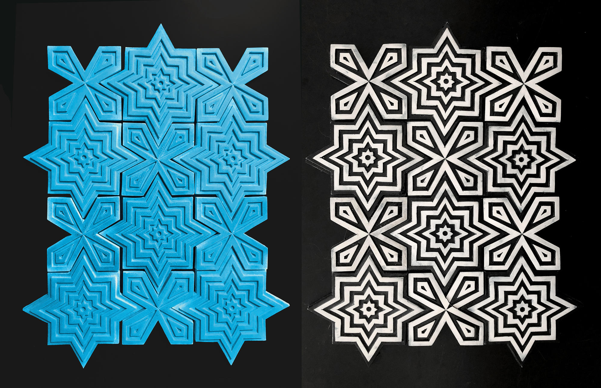 blue and black and white tiles