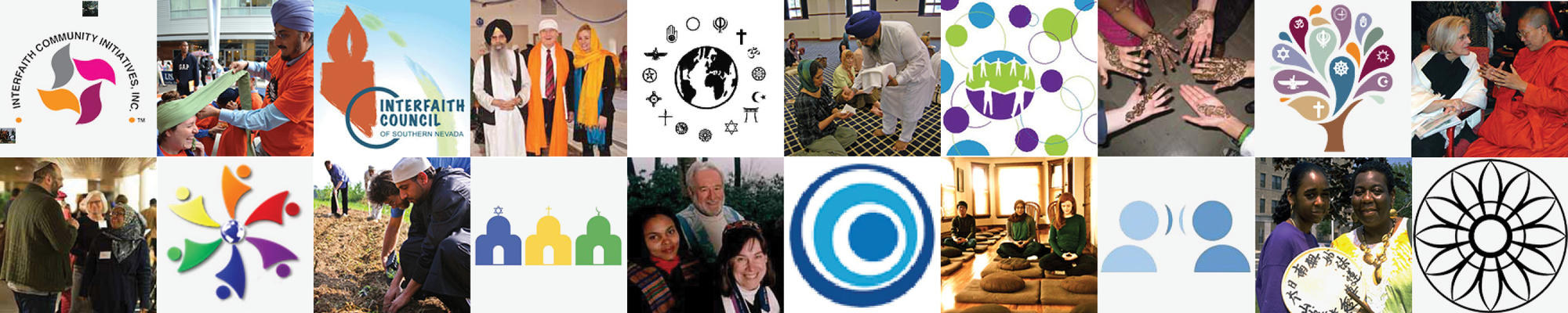Banner of interfaith images and interfaith org logos