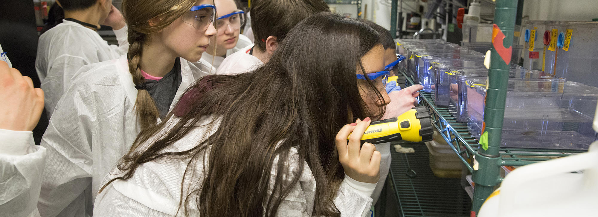 during your visit, students looking at science equipment