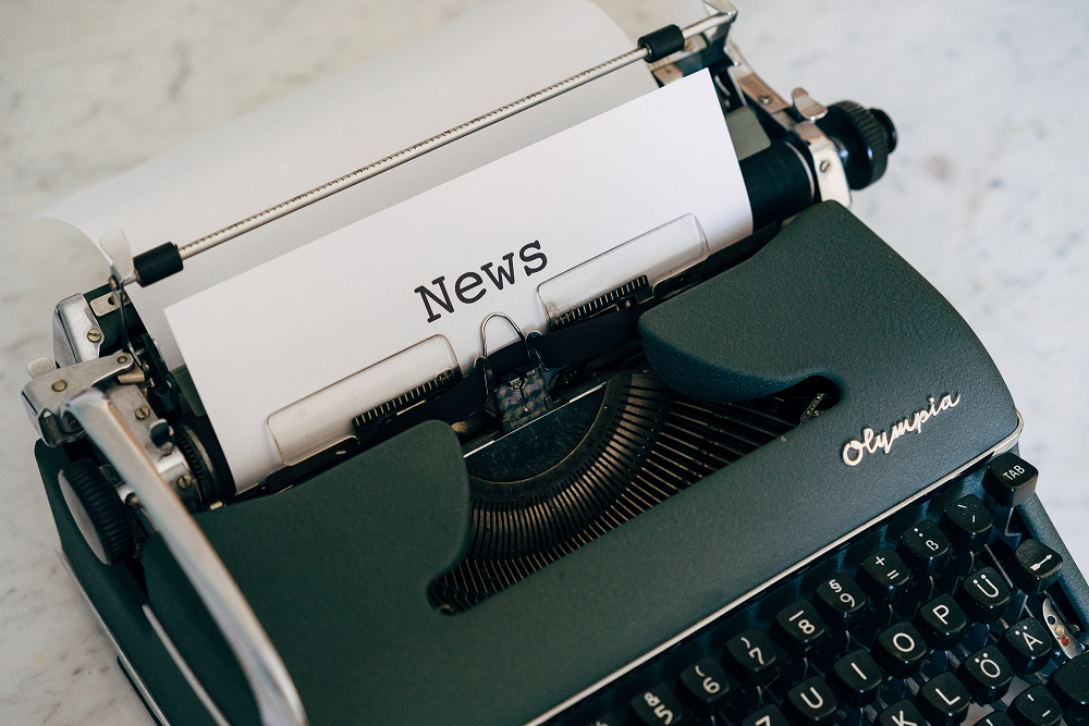 """News"" typed on a typewriter"