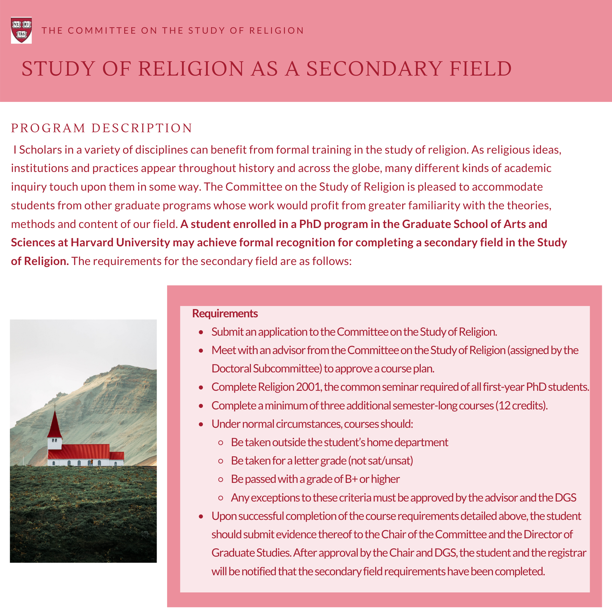 Study of Religion as a Secondary Field