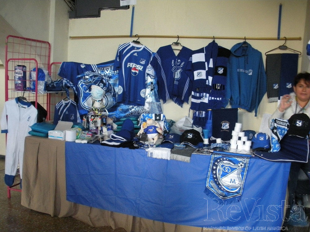 a83ab5f8dbc Merchandise for the Millionarios team on sale at a Bogotá stadium. Photo by  Rory Miller