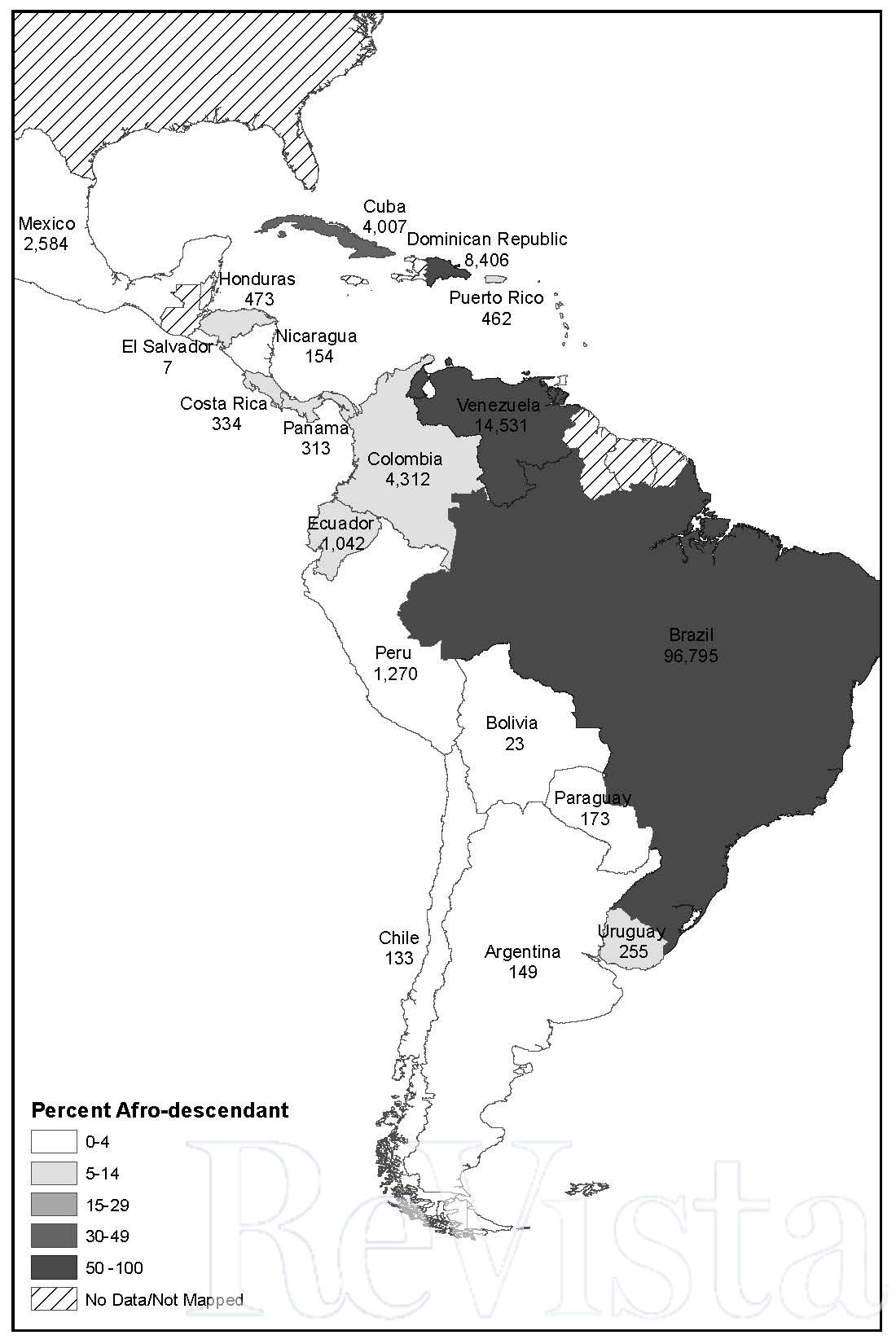 Map 2. Afro-Latin America, 2010). Num- bers under country names indicate the size of the black and brown (pardo) popu- lation, in 000s. (Map by Lena Andrews.)