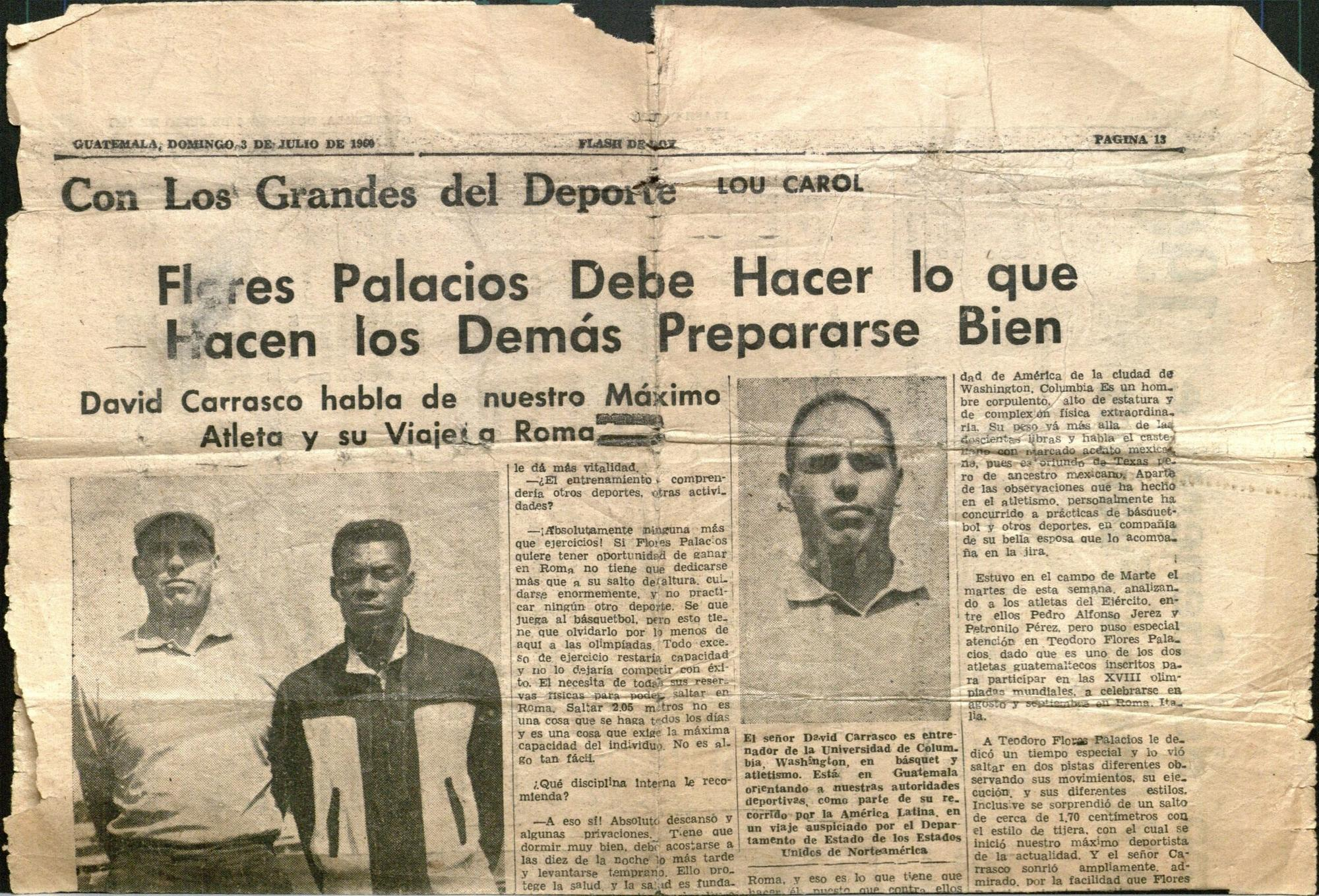 Coach Carrasco with Afro-Guatemalan youth. Newspaper clipping courtesy of  David Carrasco 450018c5428d