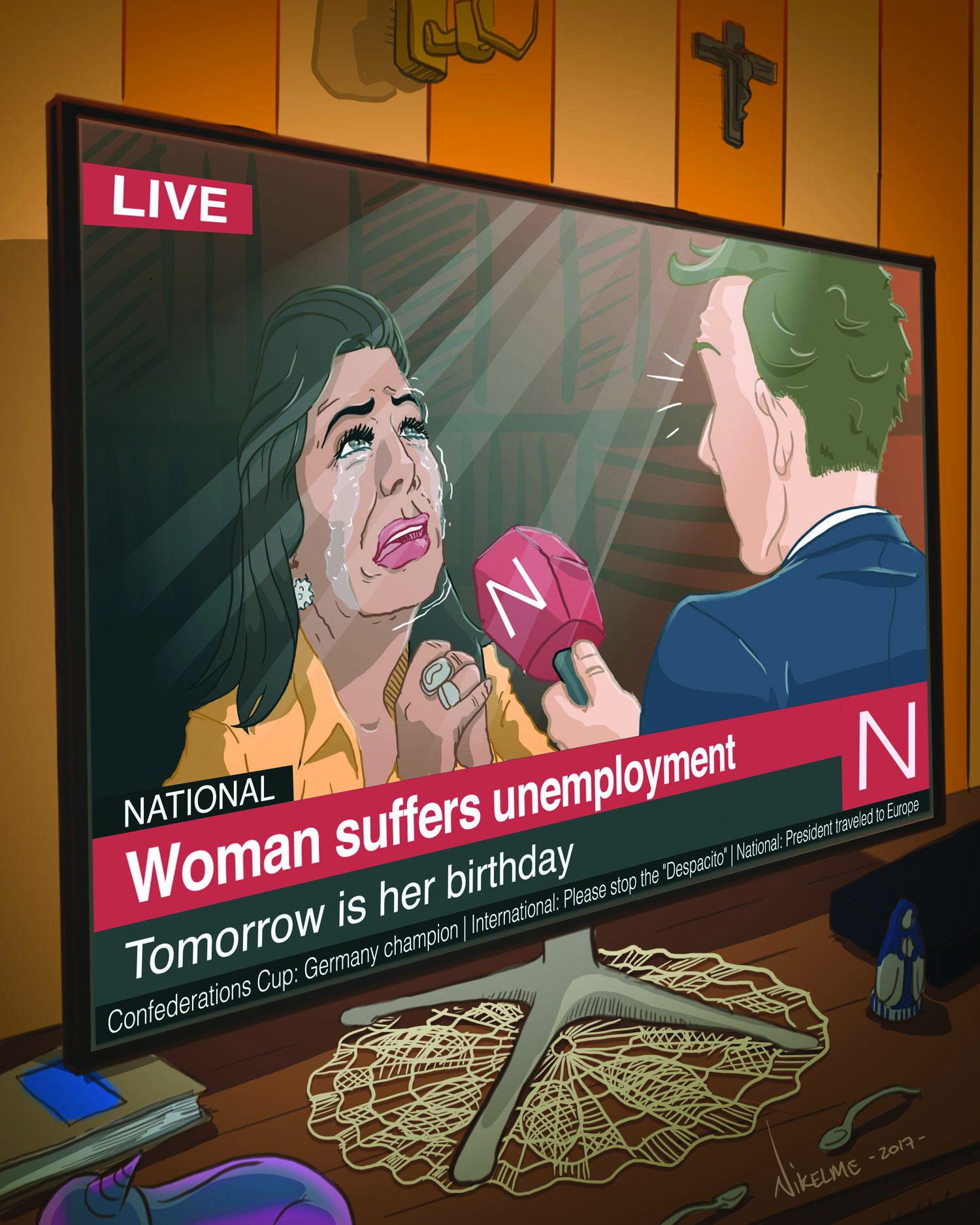 woman suffers unemployment