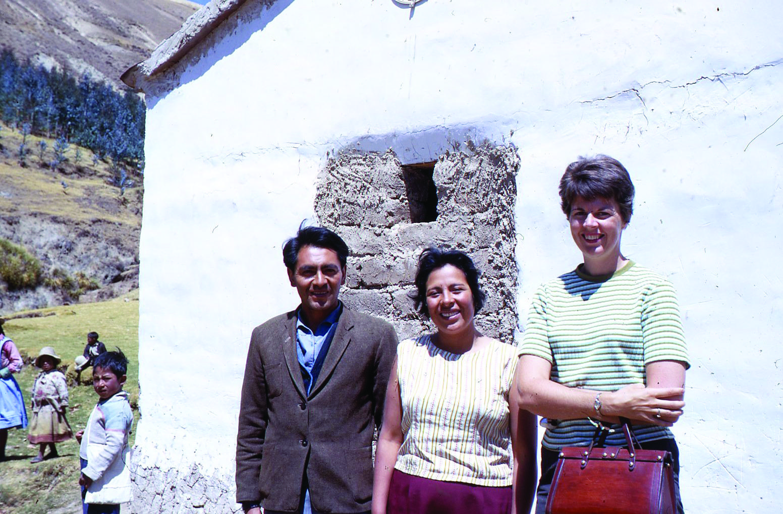 1b42d2b37 Barbara Hunt (far right) with two teachers from the one-room schoolhouse in  Ancash in 1967. Photo courtesy of Shane Hunt.