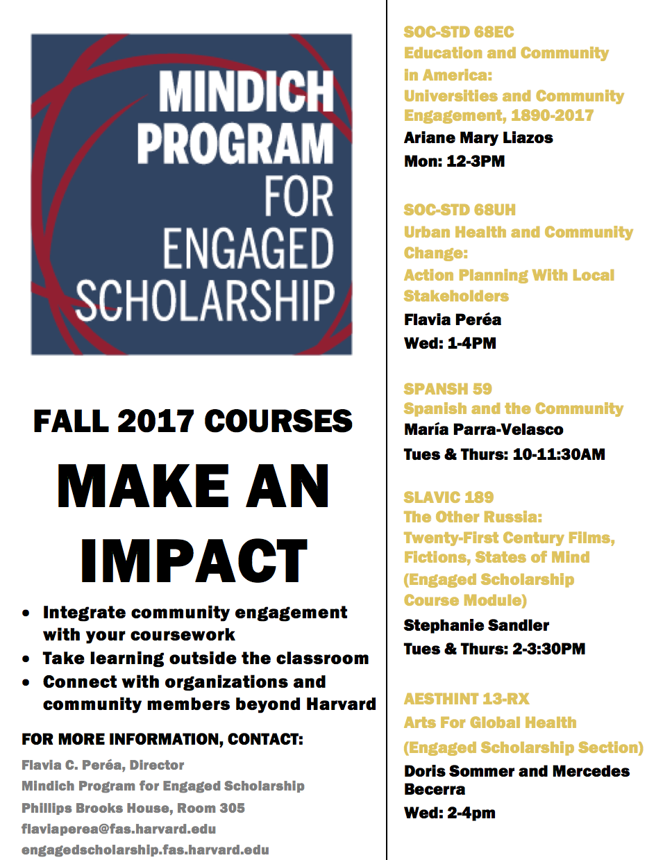2017 Fall Mindich Engaged Scholarship Courses