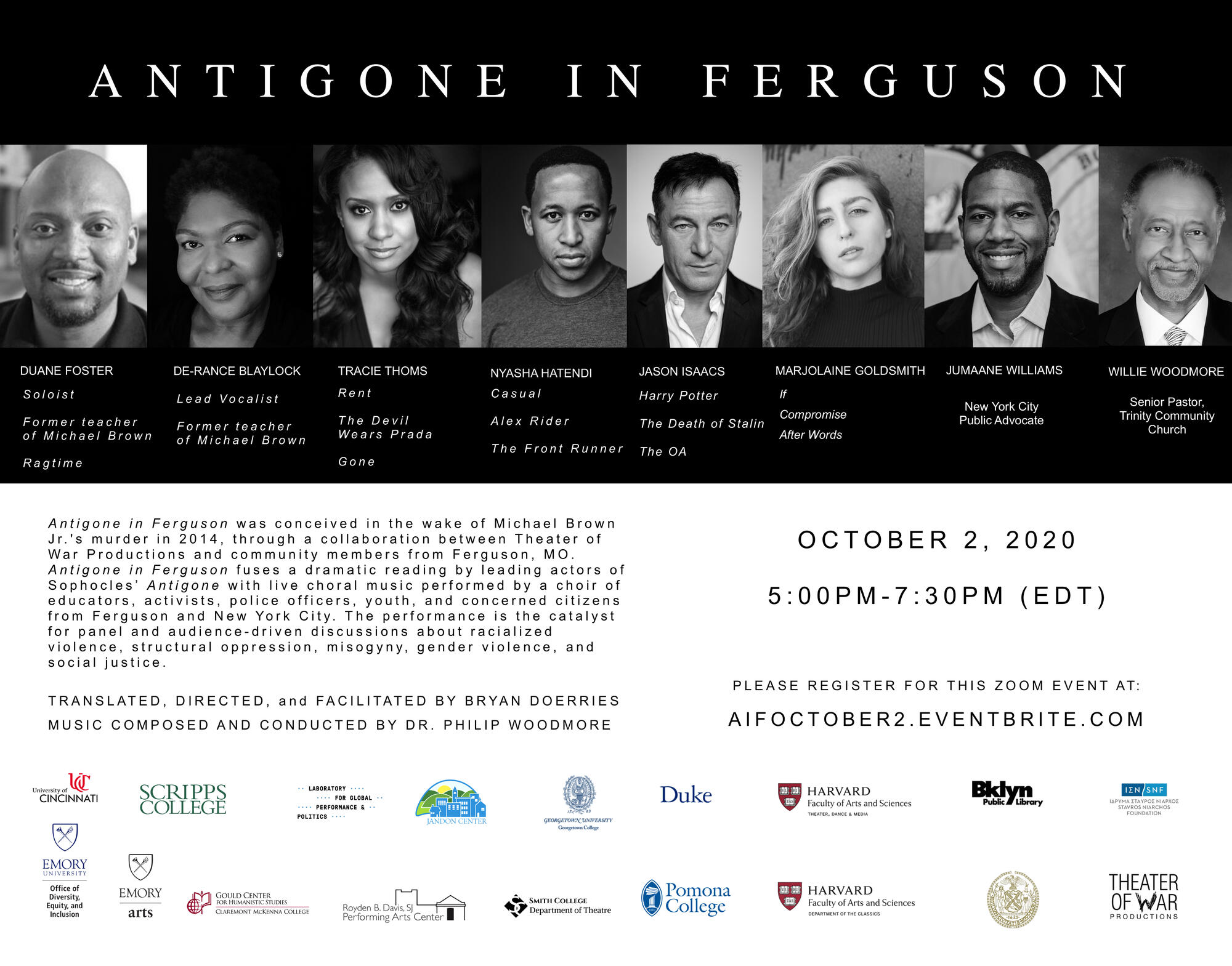 Cast members of Antigone in Ferguson are displayed at top with event info below