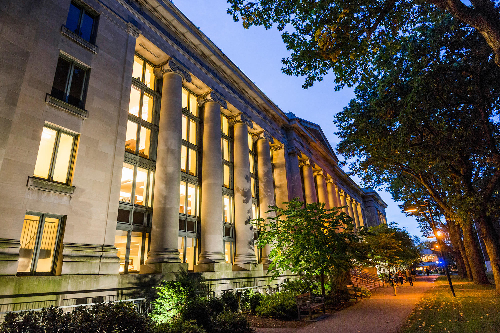 Harvard Law School in the evening