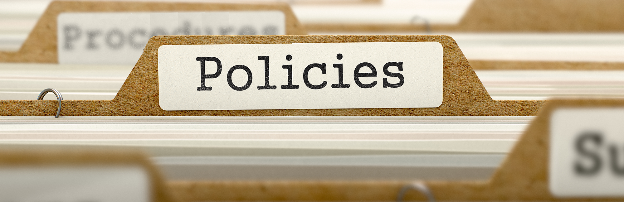 "A series of folders labeled ""Policies"" and ""Procedures"""