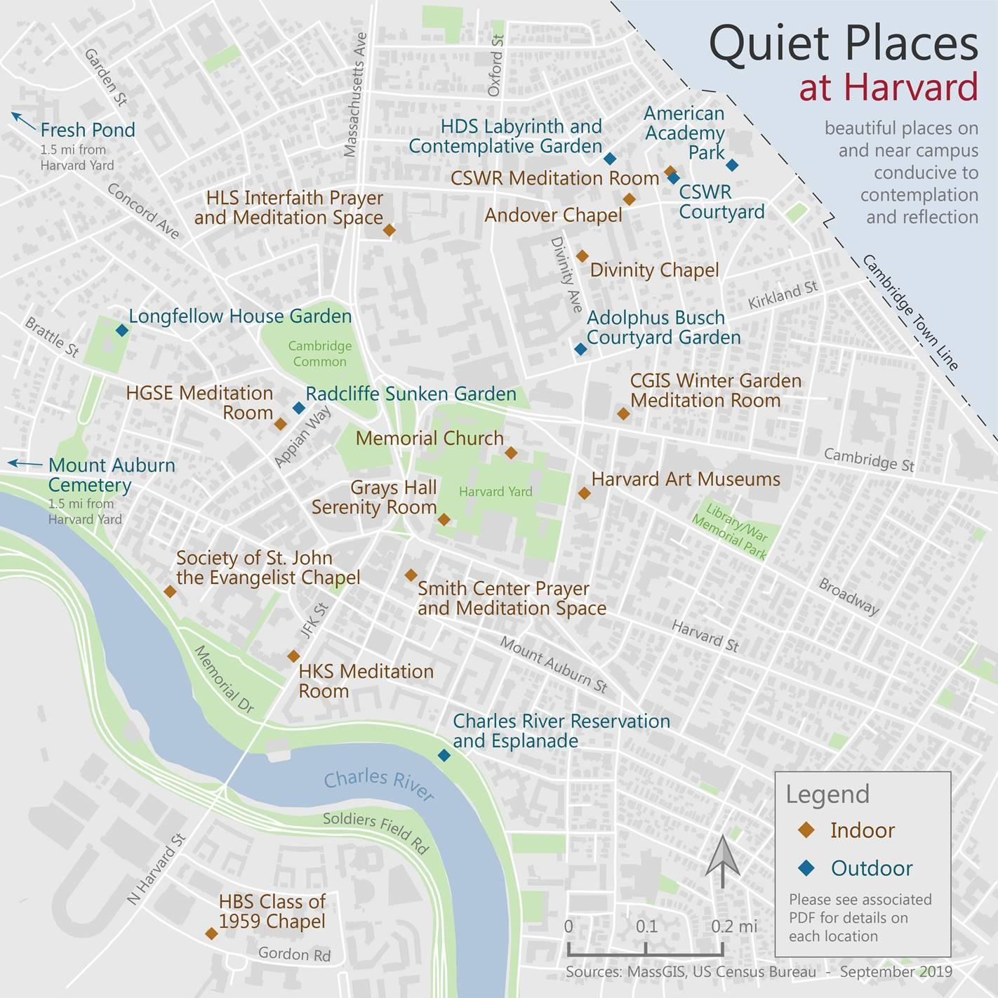 Quiet Places Map at Harvard