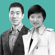 Black and white photos of David and Xiaowei overlaid on a blue background