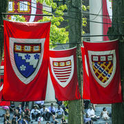Harvard Flags during the 2018 Graduation festivities