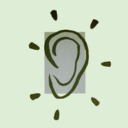 An illustration of an ear with marks indicating sound and icons of a baby, toddler, child, and doctor with patient surrounding it