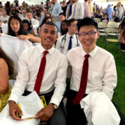 Jordan Middleton (left) with his classmate at HSDM's White Coat Ceremony