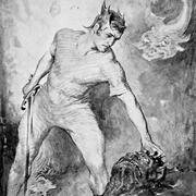 Beowulf preparing to cut off the head of the monster Grendel, illustration from Hero-Myths & Legends of the British Race, 1910. Stapleton Historical Collection—Heritage-Images/Imagestate
