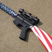 AR-15 decorated with American flag