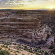 Sun rising at Bears Ears National Monument