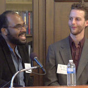 HDS students Lama Rod Owens and Tim Martin welcome panelists and guests to the the Buddhism and Race Conference.