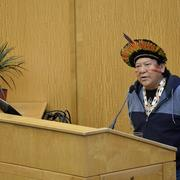 "Davi Kopenawa speaks at the conference, ""Amazonia and Our Planetary Futures."""
