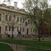 The flag of Sweden flying at University Hall in honor of the King's visit