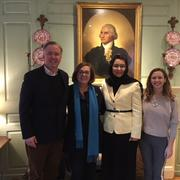 Eric Andersen, Jackie O'Neill, Ambassador Dalil, and Pauline Barr in the Wadsworth House parlor