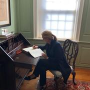Tzipi Livni signs the university guest book at Wadsworth House