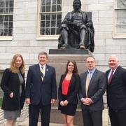 West Virginia delegation at the John Harvard statue in Harvard Yard