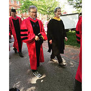 Robb Moss accompanying Commencement speaker Steven Spielberg.