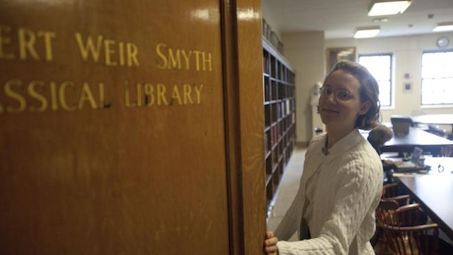 Undergraduate at the entrance to Smyth Classical Library