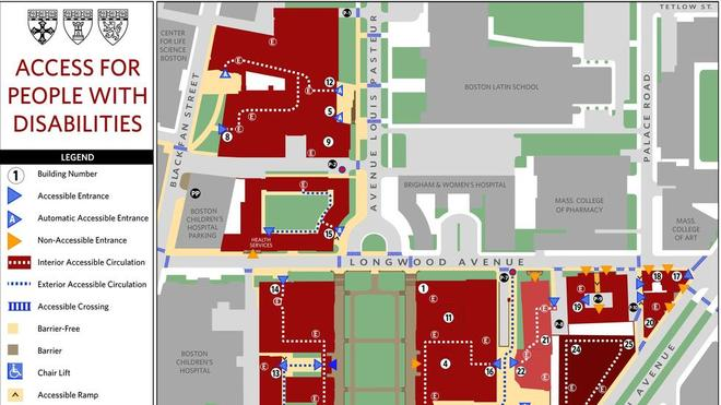 Accessibility map of the HMS campus