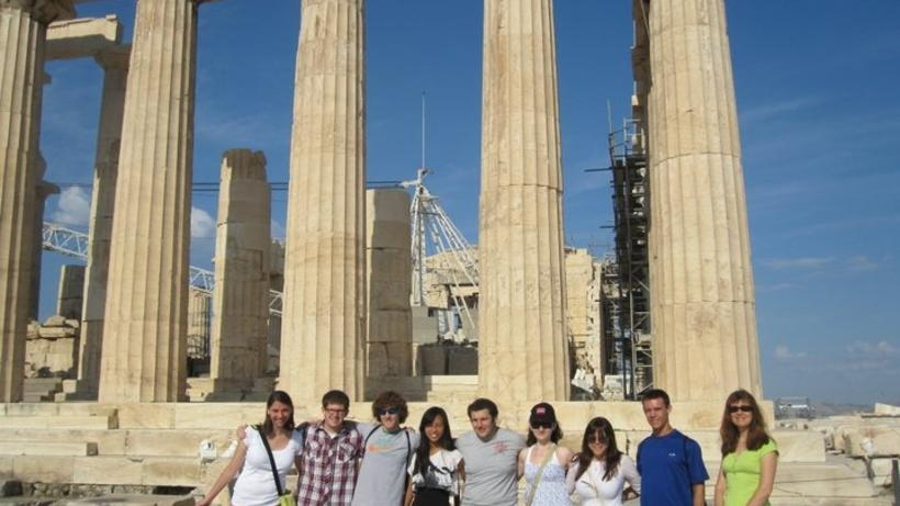 Students at the Parthenon with Prof. Mata Dova, photo by Ariane Cernius