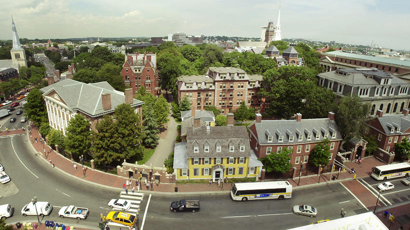 Panoramic shot of Harvard yard
