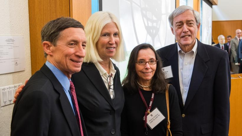 Bill Graham, AM '70, PhD '73, Betsee Parker, MDiv '85, Barbara Graham, EDM '81, EDD '89, and George Rupp, PhD '72
