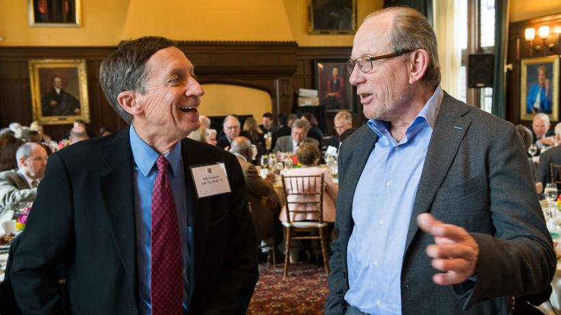 Bill Graham, AM '70, PhD '73, and Dean's Council Chair Tom Stanton