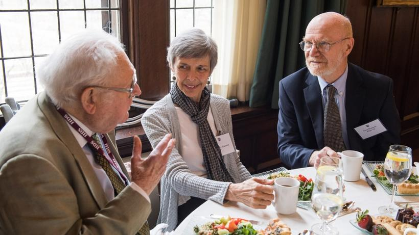 Dan Fenn Jr., AB '44, AM '72, Cynthia Hanson, and Paul Hanson, PhD '70