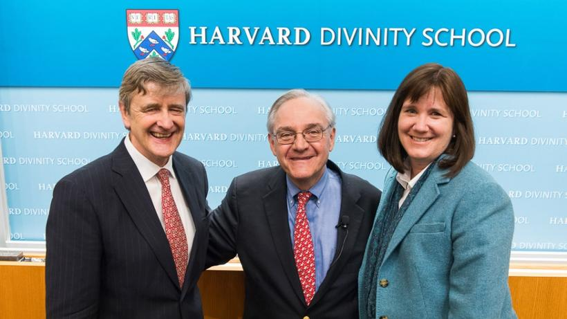 Dean David Hempton, E.J. Dionne, AB '73, and Catherine Brekus, AB '85