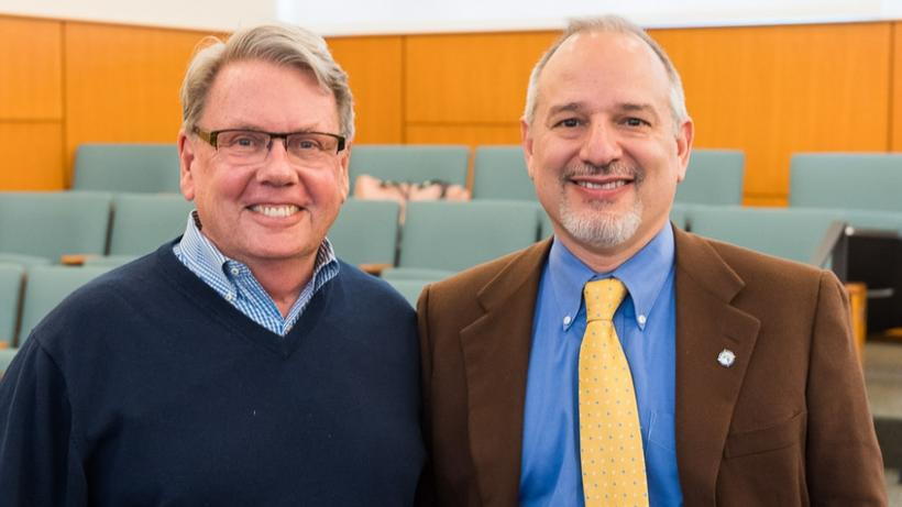 Philip Atkins-Pattenson, MDiv '77, and Rick Santos, MTS '92