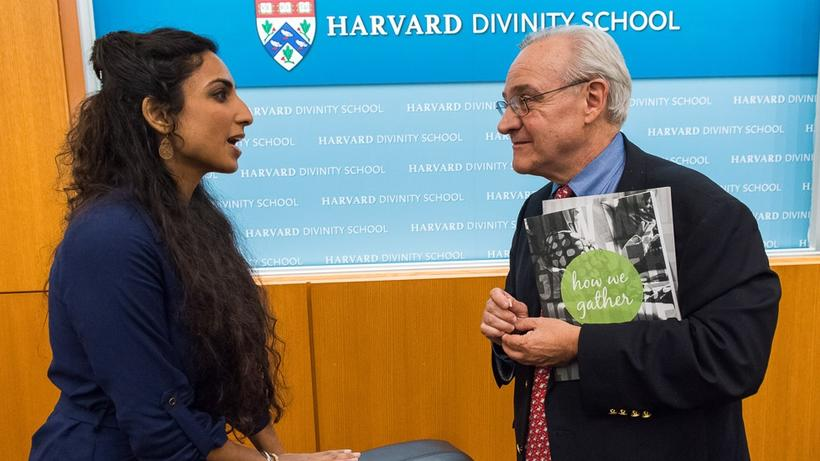 Valarie Kaur, MTS '07, and E.J. Dionne, AB '73